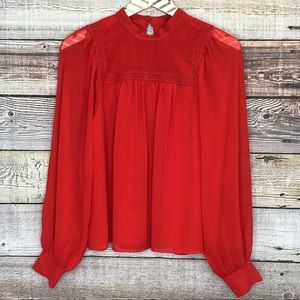 GAP Long Sleeve Blouse XS Red 0171